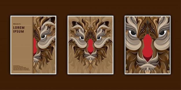 Modelli di banner con testa di tigre