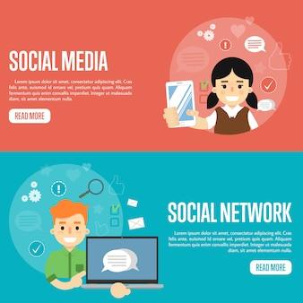 Modelli di banner della rete di social media
