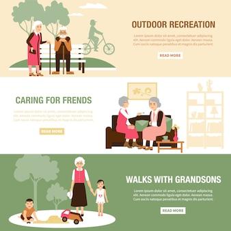 Modelli di banner di persone anziane