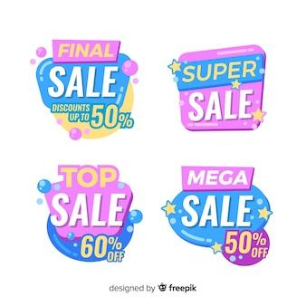 Modelli di banner di vendita con forme astratte