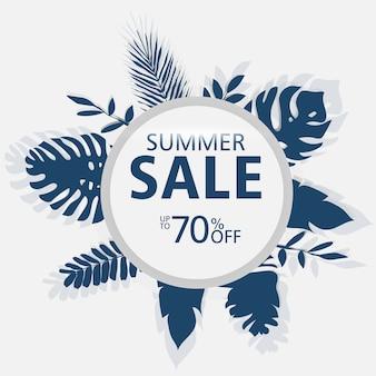 Modelli di banner di vendita di estate, cerchio con foglie di palma, foglie di foresta.