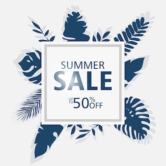 Modelli di banner di vendita di estate, cornice quadrata con foglie di palma, foglie di foresta.