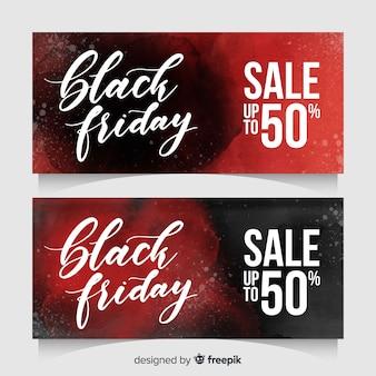 Modelli di banner di vendita venerdì nero con macchie di acquerello