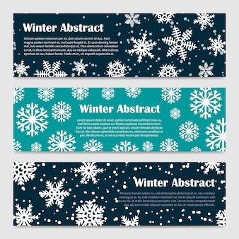 Modelli di banner invernali con nevicate e fiocchi di neve