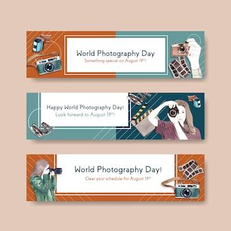Modelli di banner per la giornata mondiale della fotografia