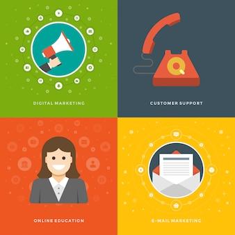 Modelli di banner promozione web e icone piatte