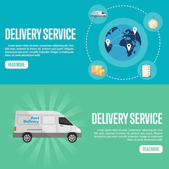 Modelli di banner sito web orizzontale di servizio di consegna