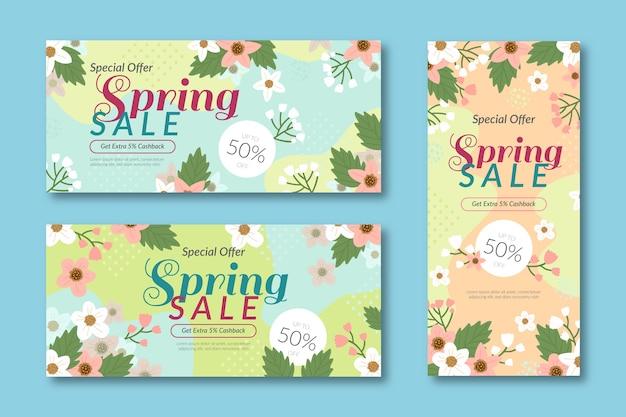 Modelli di banner vendite estive con fiori colorati
