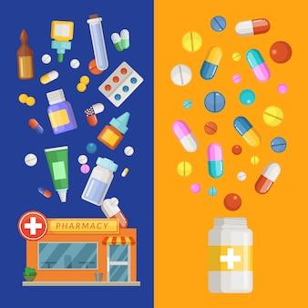 Modelli di banner verticale di medicinali con farmaci e pillole che si diffondono dalla farmacia e dalla bottiglia.