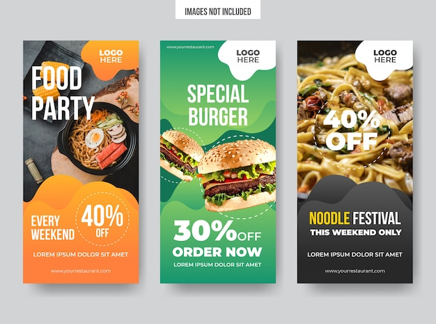 Modelli di banner verticali alimentari