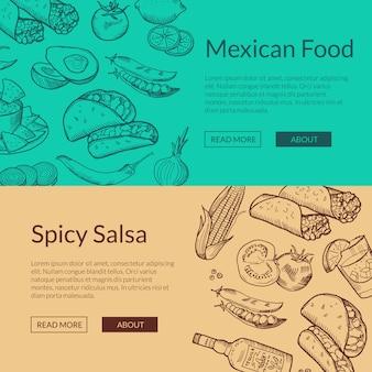 Modelli di banner web con elementi di cibo messicano abbozzato