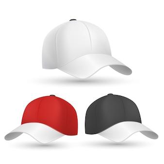 Modelli di berretto da baseball neri, bianchi e rossi