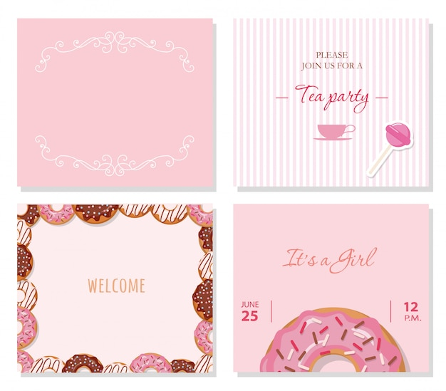 Modelli di biglietti d'auguri impostati in rosa pastello