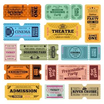 Modelli di biglietti d'ingresso vintage circo, festa e cinema vettoriale