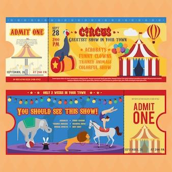 Modelli di biglietti per il circo