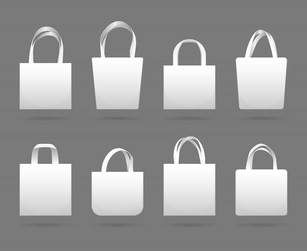 Modelli di borsa shopping in tela bianca vuota. mercato di borse in tessuto ecopelle con manico