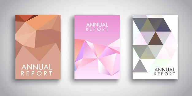 Modelli di brochure con disegni astratti in poli basso
