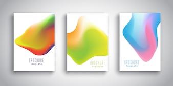 Modelli di brochure con disegni fluidi 3D astratti