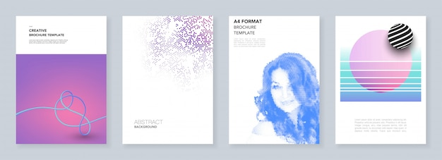 Modelli di brochure minimal con motivi geometrici colorati, sfumature, forme fluide in stile minimalista