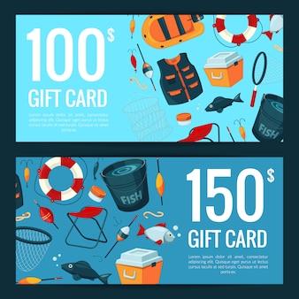 Modelli di buoni sconto o carta regalo con attrezzatura da pesca dei cartoni animati
