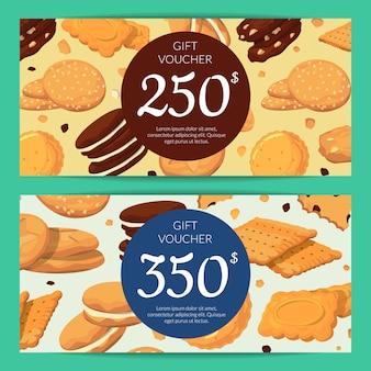Modelli di buono sconto o buono regalo con biscotti dei cartoni animati