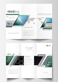 Modelli di business brochure ripiegabili su entrambi i lati.
