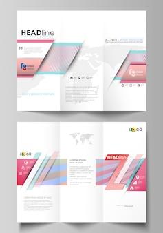 Modelli di business brochure ripiegabili su entrambi i lati