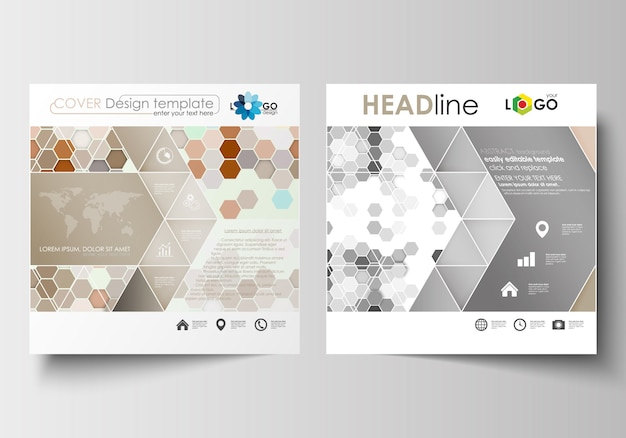 Modelli di business per brochure, riviste, volantini, opuscoli o report di design quadrati