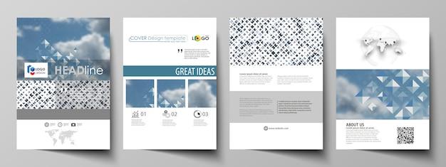 Modelli di business per brochure, riviste, volantini, opuscoli, report.