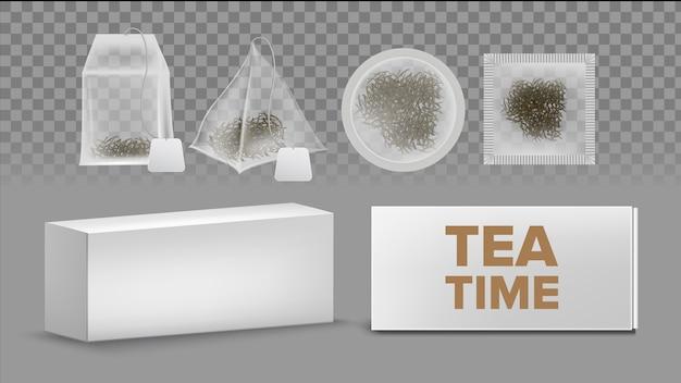 Modelli di bustine di tè con etichette