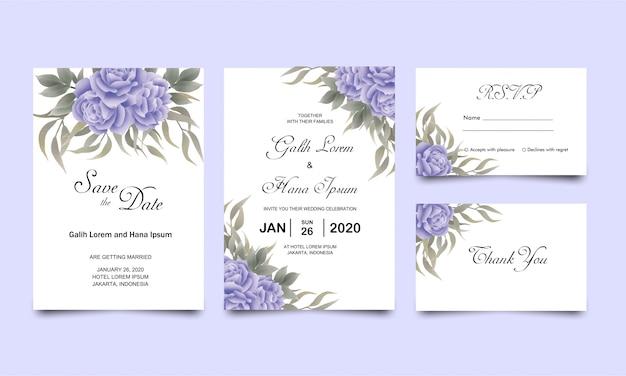 Modelli di carta di invito di nozze con decorazioni in stile acquerello di foglie di rosa blu blu
