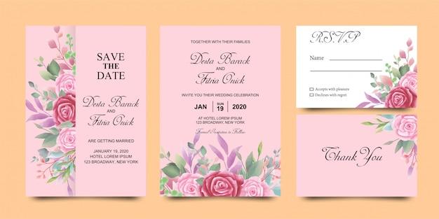 Modelli di carta di invito matrimonio floreale dell'acquerello