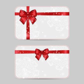 Modelli di carte ornamentali con fiocco in nastro