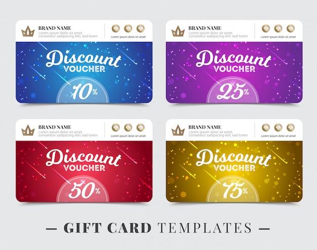 Modelli di carte regalo con striscia per lo sconto del marchio