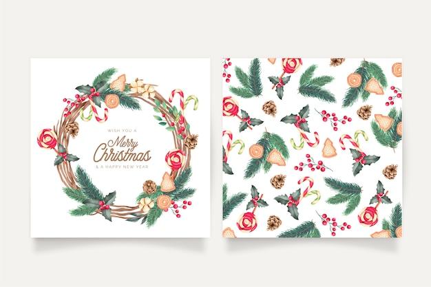 Modelli di cartoline di natale ad acquerello