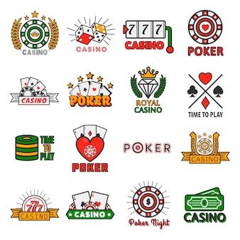 Modelli di casinò poker vettoriale di fiches e carte da gioco