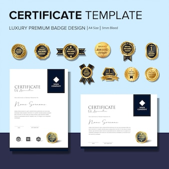 Modelli di certificati creativi con badge