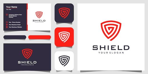 Modelli di concetto di scudo creativo. icona e biglietto da visita