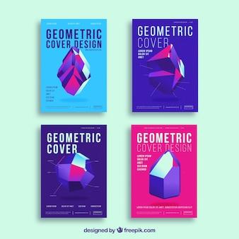 Modelli di copertina astratti con disegno geometrico
