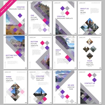 Modelli di copertina creativi con cubi colorati, astratto geometrico alla moda