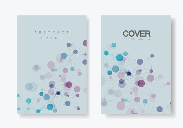 Modelli di copertina geometrici moderni con linee e punti collegati