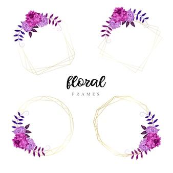 Modelli di cornice floreale dell'acquerello