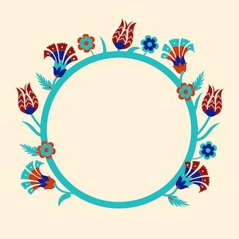 Modelli di cornice rotonda con motivi floreali. .