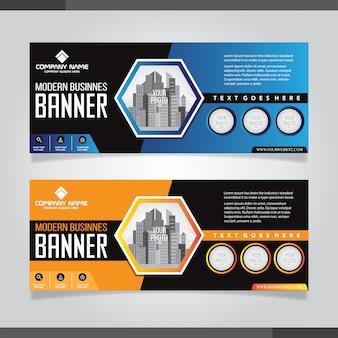 Modelli di design astratto banner blu e arancione
