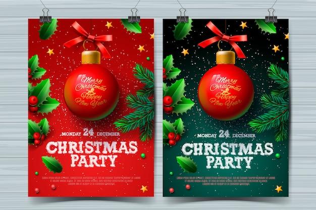 Modelli di design per feste di natale, poster con palla e decorazioni natalizie