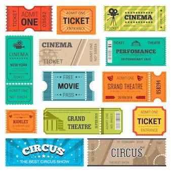 Modelli di disegno vettoriale biglietti per film, teatro o cinema e circo o spettacolo di concerti