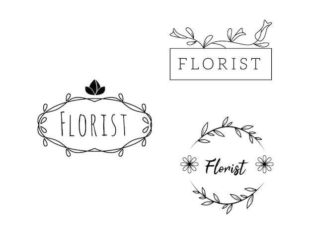 Modelli di fiori femminili logo florist wedding planner