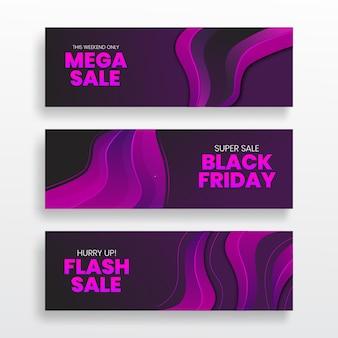 Modelli di forma fluido fluido ondulato banner di vendita