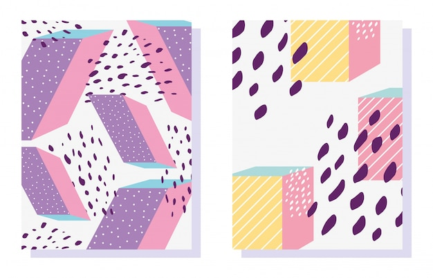 Modelli di forme geometriche di memphis alla moda alla moda anni 80-90