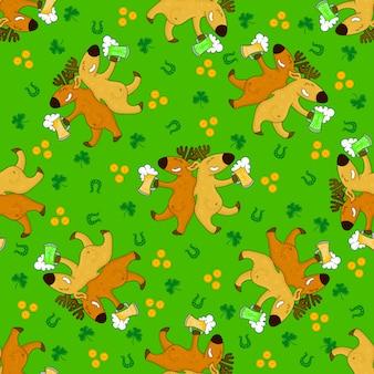 Modelli di giorno di san patrizio con volpi e simboli irlandesi